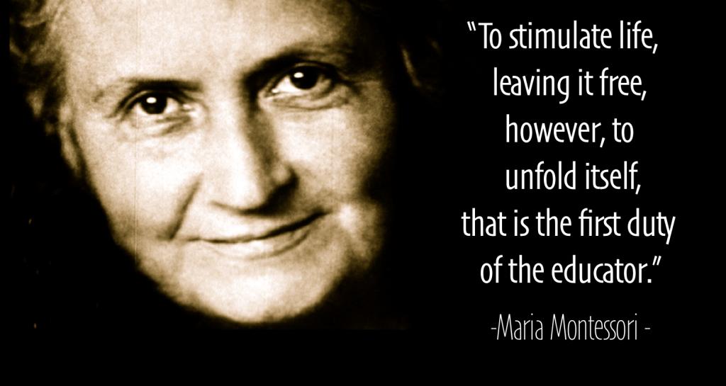 bilde av Maria Montassori med en quote på engelsk