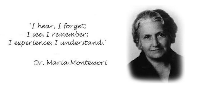 bilde av Maria montesori med en quote om læring. Lånt fra Bowman School.