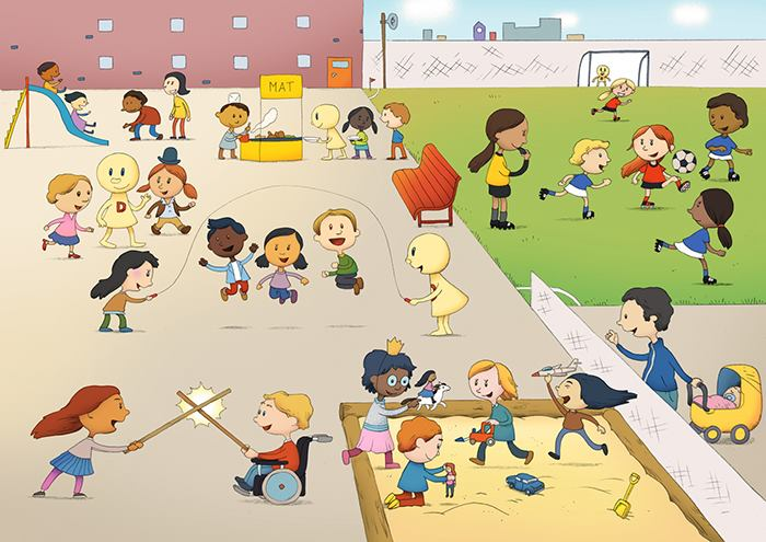 illustrasjon av barn som leker